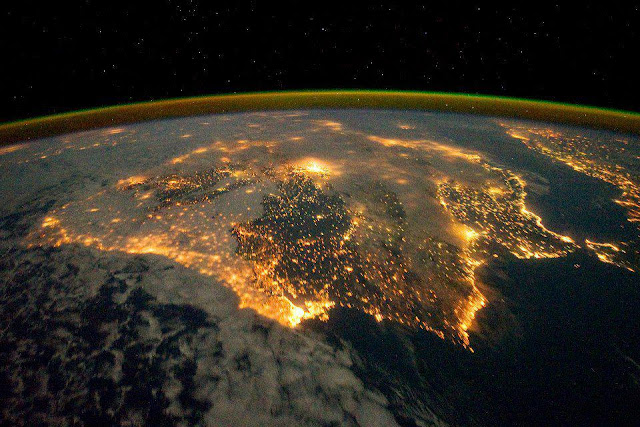 Iberian Peninsula by night photo by NASA