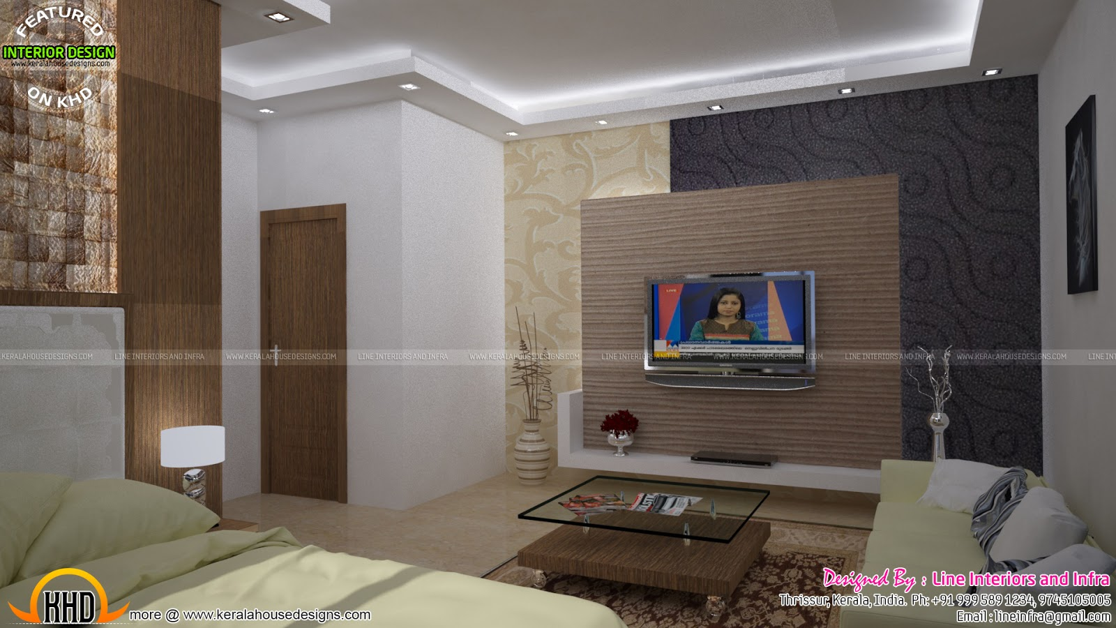 Floor plan of modern 3 bedroom house keralahousedesigns for Bedroom ideas tv