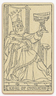 King of Chalices card - inked illustration - In the spirit of the Marseille tarot - minor arcana - design and illustration by Cesare Asaro - Curio & Co. (Curio and Co. OG - www.curioandco.com)