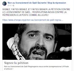 Non au licenciement de Gaël Quirante