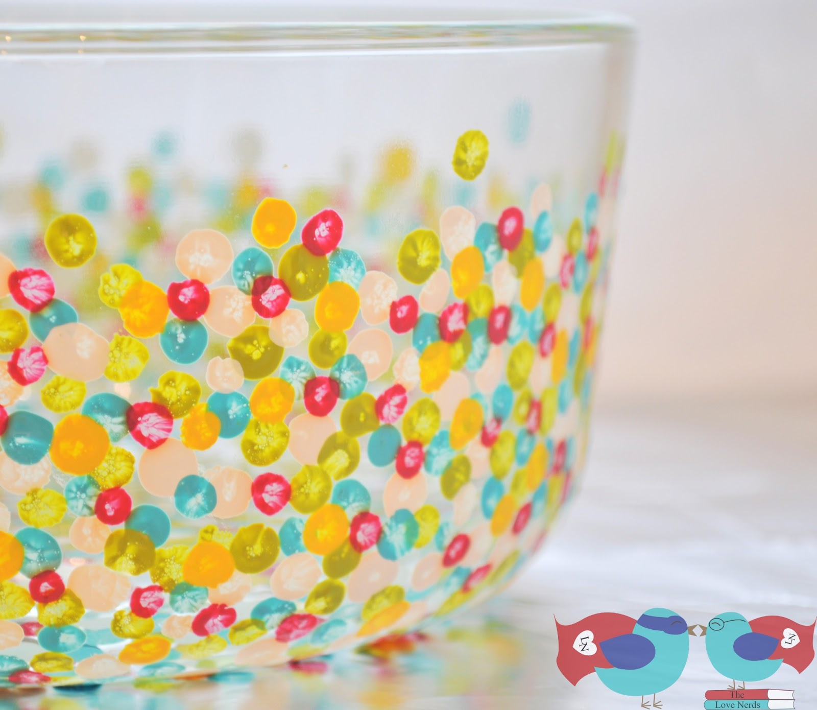 How To Decorate A Bowl How to Hand Paint Glass Bowls with Confetti Dots The Love Nerds 2