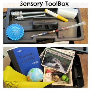 a plastic tool box filled with sensory integration tools and items to help regulate and calm