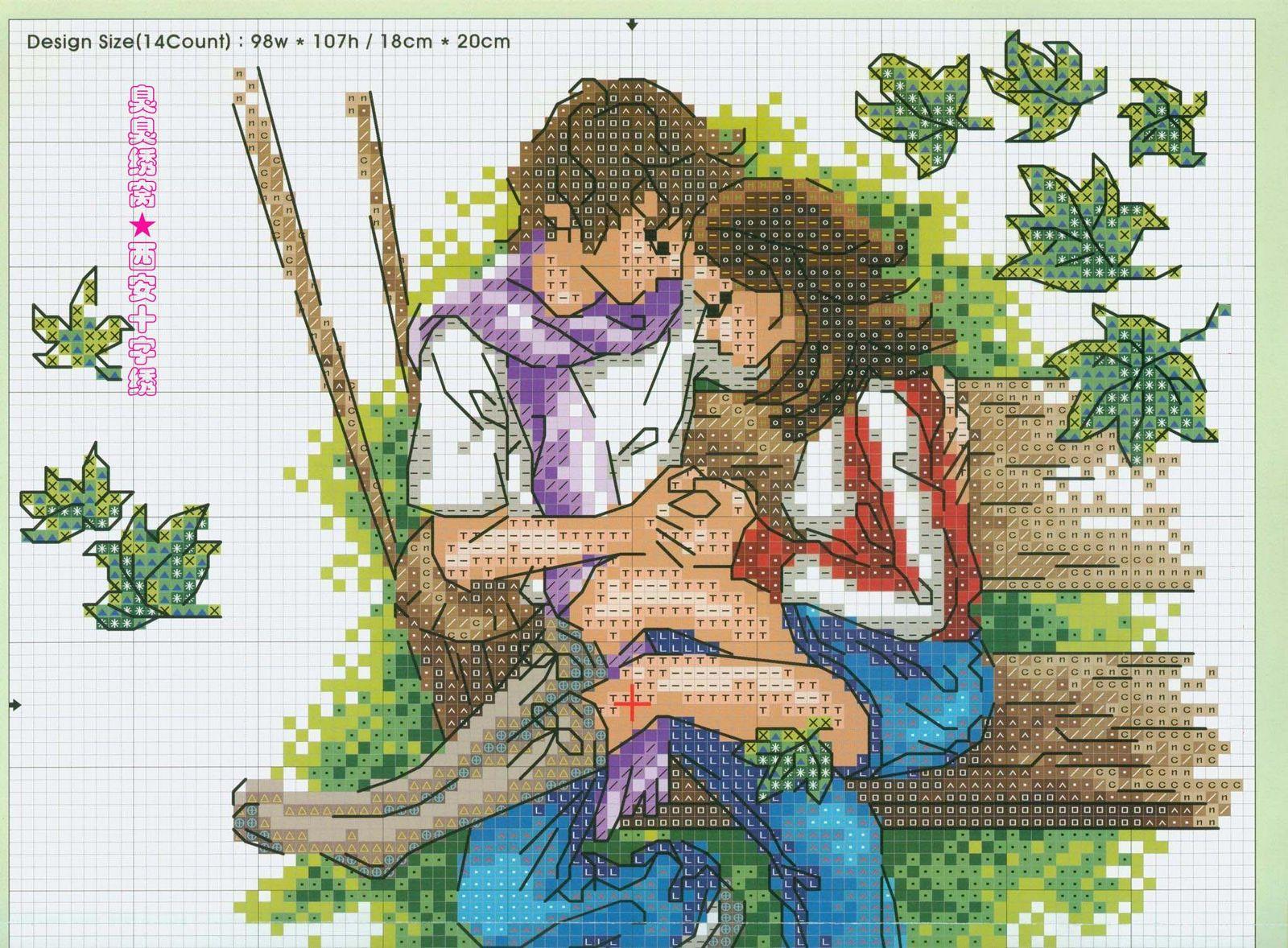 Вышивка крестиком схема романтика 43
