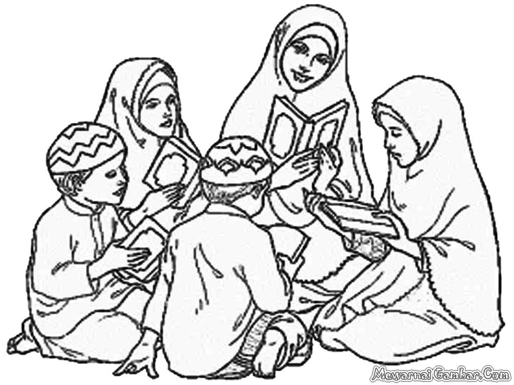 ... beberapa gambar orang mengaji Al Qur'an untuk diwarnai oleh anak-anak