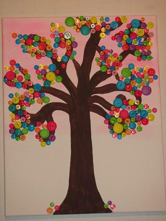 Mama To Three Chicks Button Tree Canvas Art