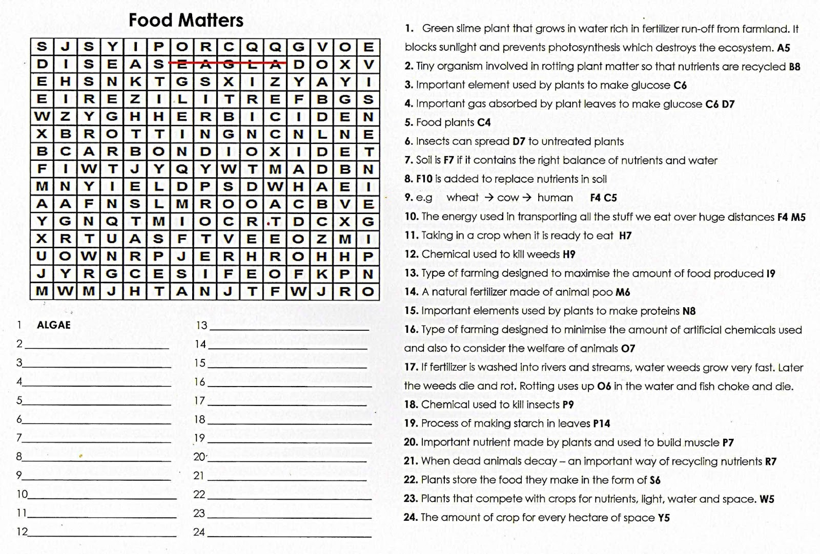 100 Free Science Worksheets QUIZ WORDSEARCH Food Matters – Free Science Worksheets