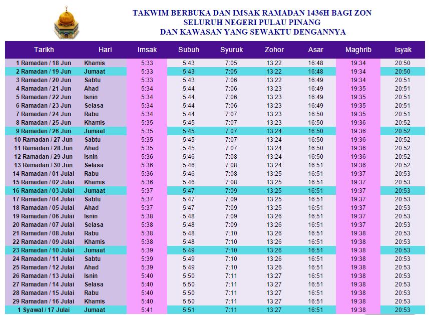Zamani 84 Jadual Waktu Berbuka Puasa Dan Imsak 2015 Bagi Negeri Pulau Pinang
