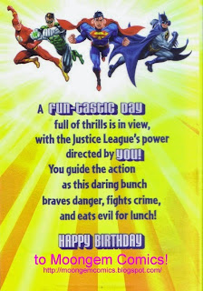 Justice League create a comic birthday card message page