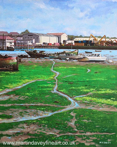 Northam boat yards and old boats-acrylic painting