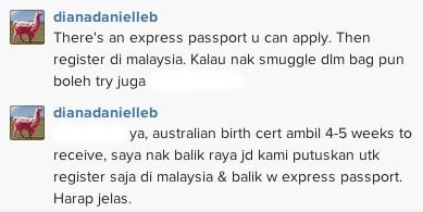 Diana Danielle Guna Passport Express Balik Anak Balik Malaysia