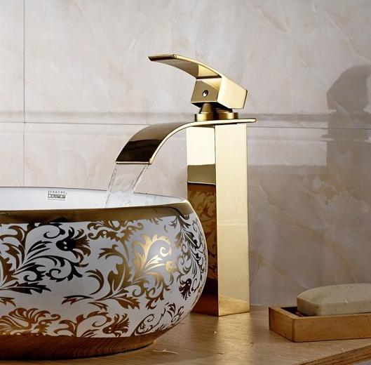 Construindo Minha Casa Clean Banheiros e Lavabos Decorados com Cubas Douradas! -> Cuba Para Banheiro Misturador