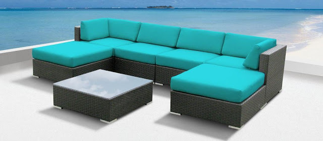 Review Luxxella Outdoor Patio Wicker MALLINA Sofa Sectional Furniture 7pc
