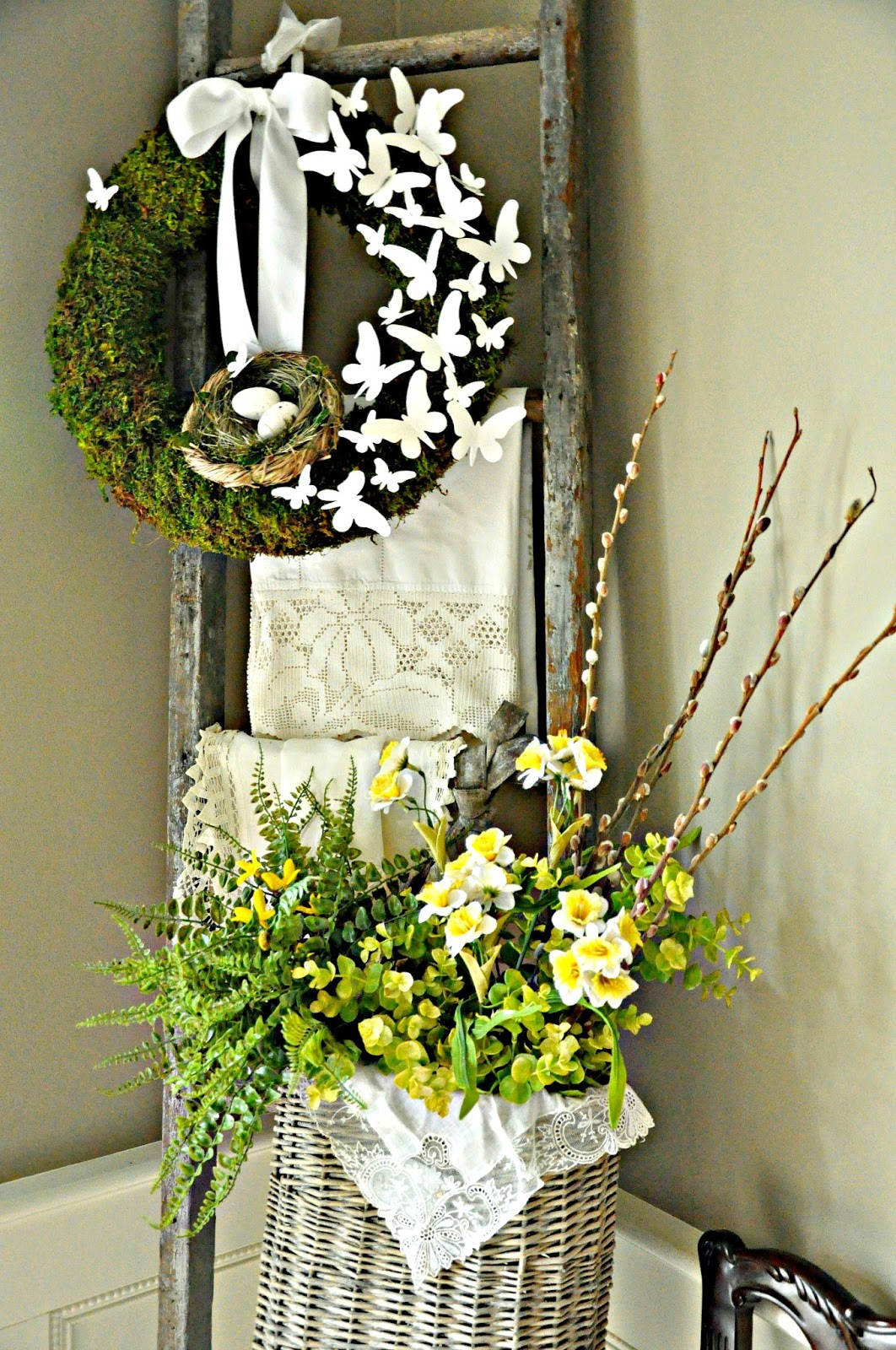 serendipity refined blog spring break nesting and a moss and butterfly wreath. Black Bedroom Furniture Sets. Home Design Ideas