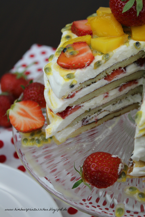 Alles Käse Pfannkuchen Torte Mango Maracuja Erdbeere Foodblog Himbeerprinzesschen