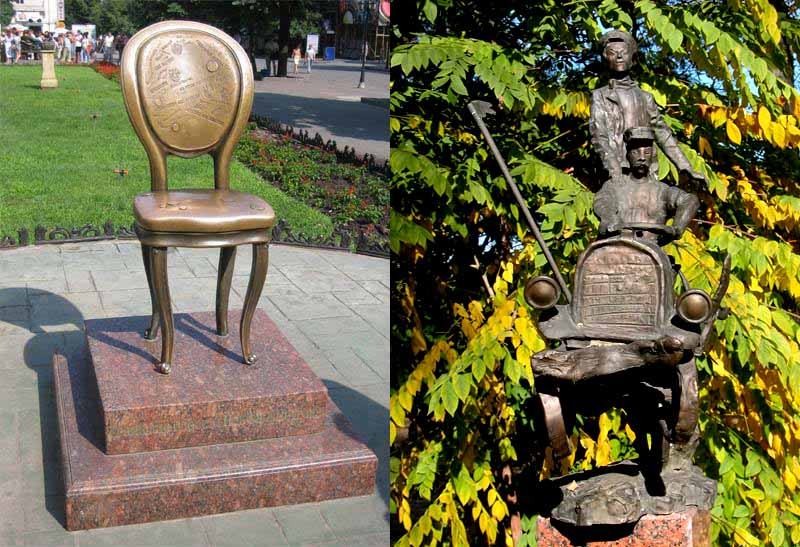 two statues in Russia commemorating the fictional works of Ilf and Petrov - left, The Twelve Chairs and right, The Golden Calf