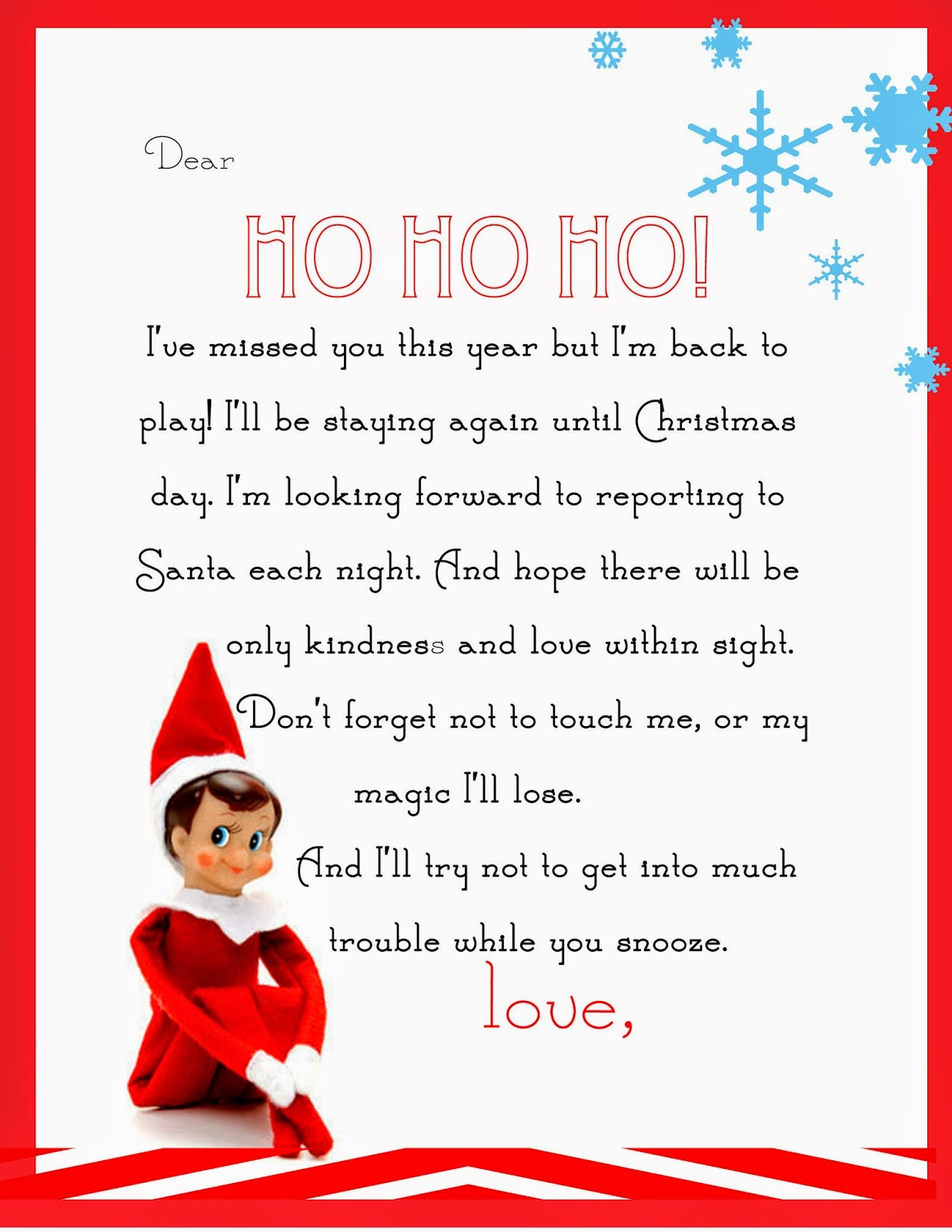 Free printable letter for when your Elf on the Shelf returns.