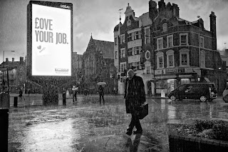 Love your job bilboard with man walking