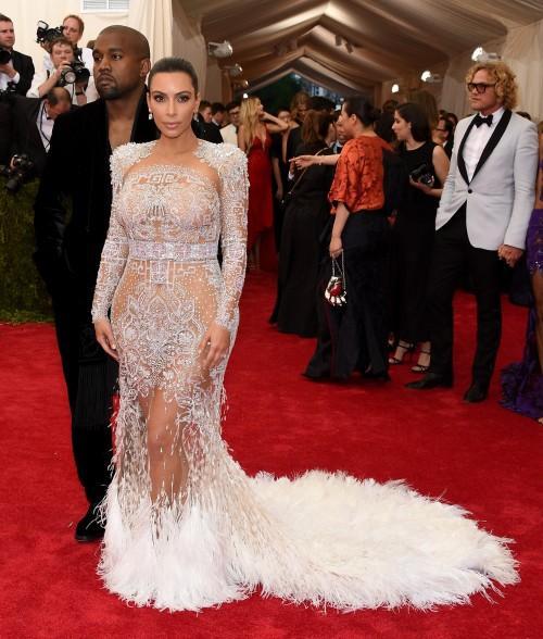 Kim Kardashian in a Roberto Cavalli Kim dress