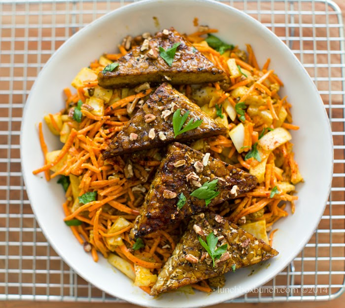 Easy Carrot Slaw with Smoky Maple Tempeh Triangles