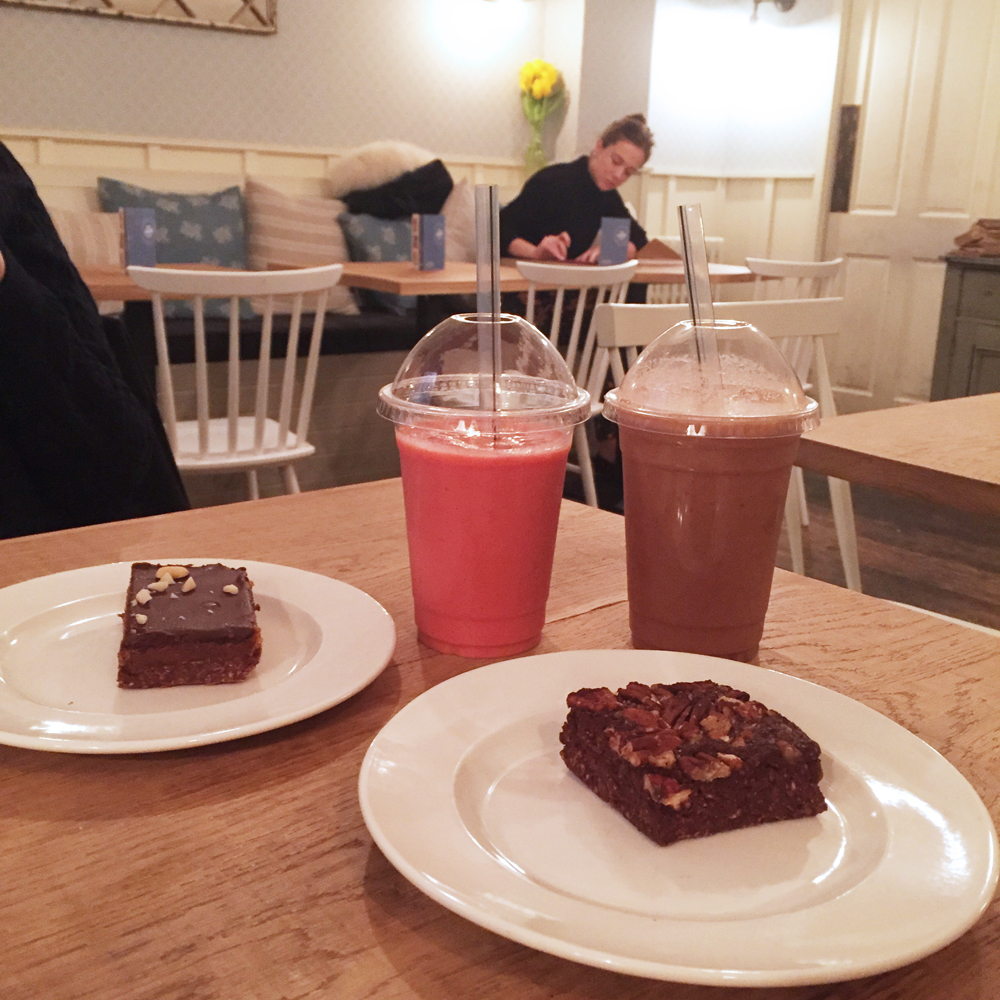 The Mae Deli brownies and smoothies