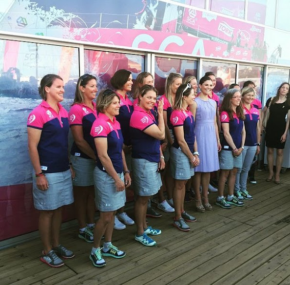 Crown Princess Victoria met with members of Sweden's Team SCA at the Volvo Ocean Race Village in Lisbon