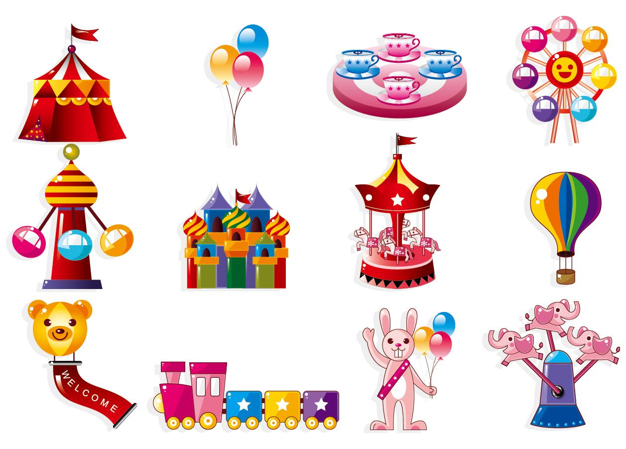 遊園地のアイコン cute cartoon icon playground イラスト素材