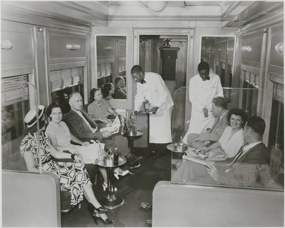 Lounge section of dining car, Erie Railroad Company, ca ...