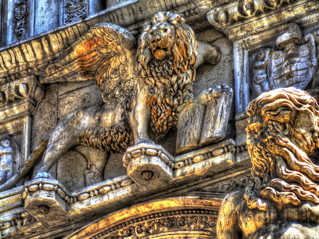 Winged Lion of Venice, Italy in the court yard of the doge's Palace