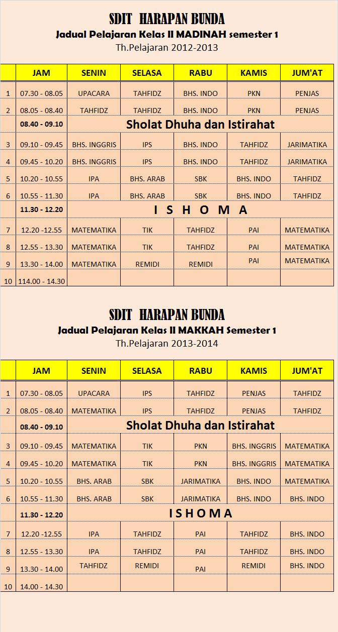 jadwal pelajaran dan Kalender Pendidikan TA 2013 / 2014