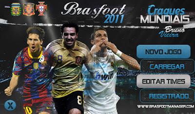 Baixe agora e deixe o menu principal do seu Brasfoot 2011 Build 3 com o Messi, Xavi e Cristiano Ronaldo