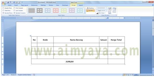 Gambar: contoh pembuatan tabel menggunakan draw table di microsoft word