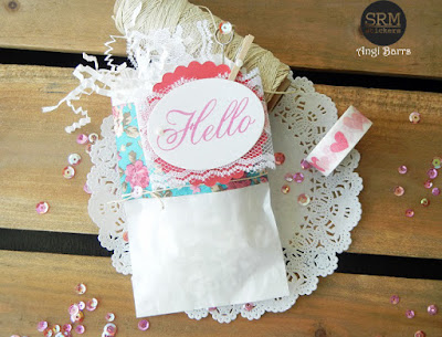 SRM Stickers Blog - Dressed Up Gift Bags by Angi Barrs - #giftbag #glassine #embossedbag #clearstamp #BIGhello #BIGstamps #lace #punchedpieces #DIY