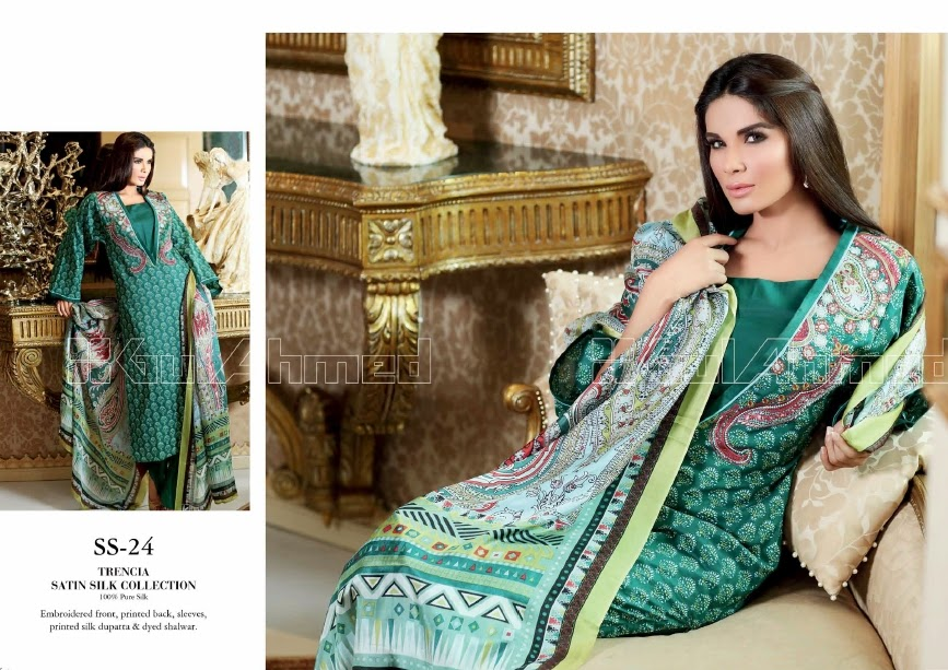 Party Wear Trencia Satin Silk Suits 2014