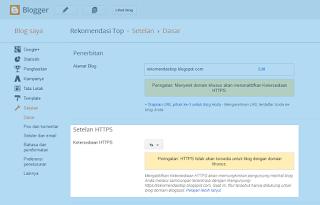 Cara Setting atau mengaktifkan HTTPS Blogspot
