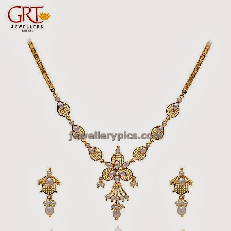 grt jewellers pearl necklace studded in gold chain