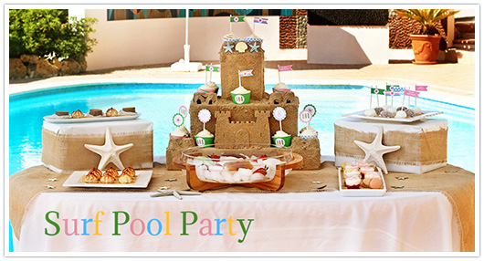 surf pool party dessert table