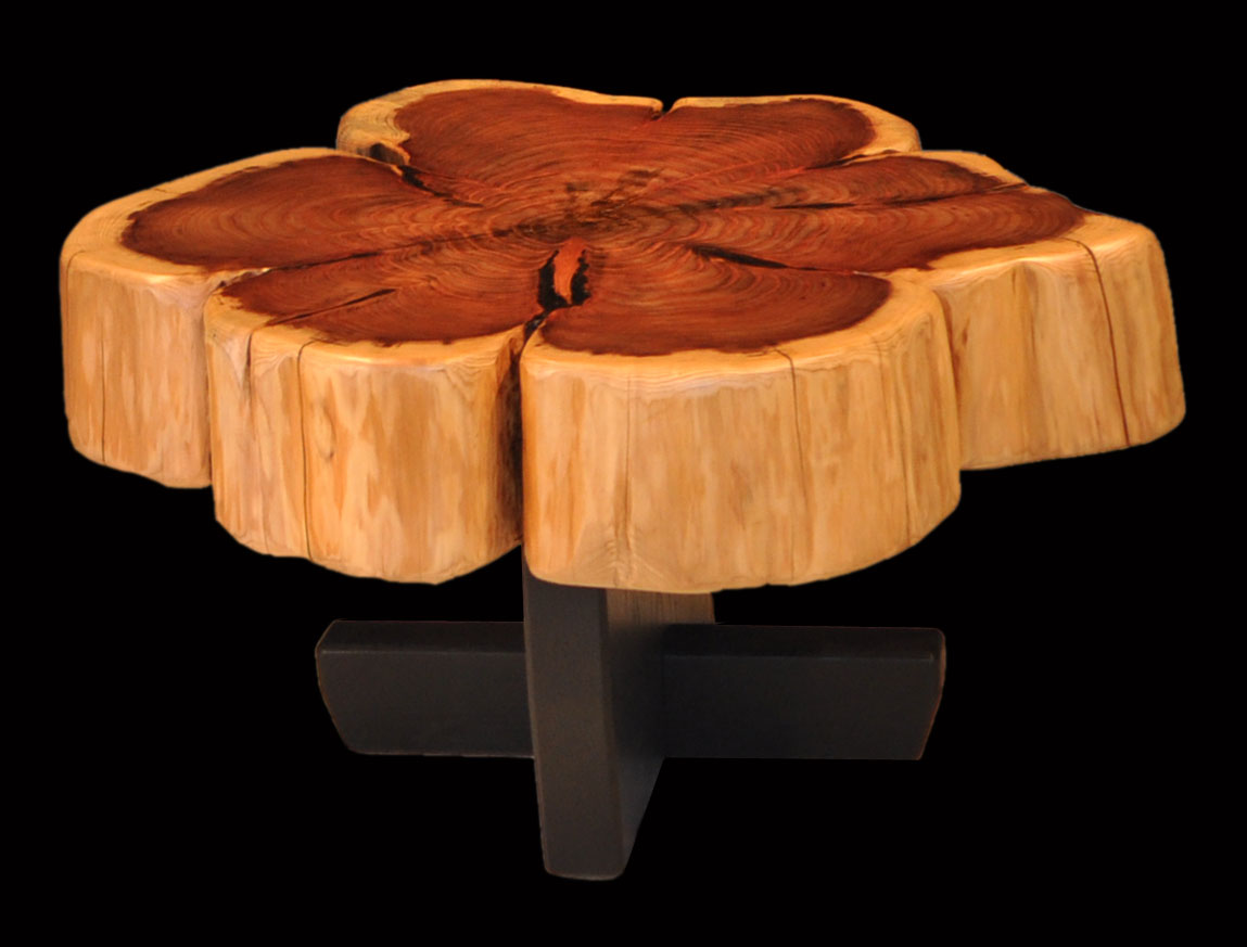 Clark Functional Art Giant Sequoia With Flower Burl Pattern Tree Trunk Tables By Tony Clark