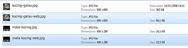Contoh lain perbedaan ukuran file save as biasa dan save for web.