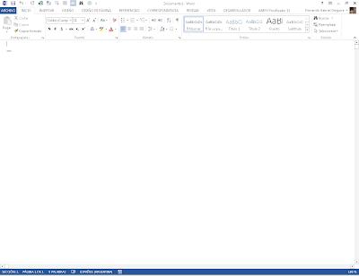 Documento en blanco abierto en Word 2013 y la pestaña Inicio seleccionada
