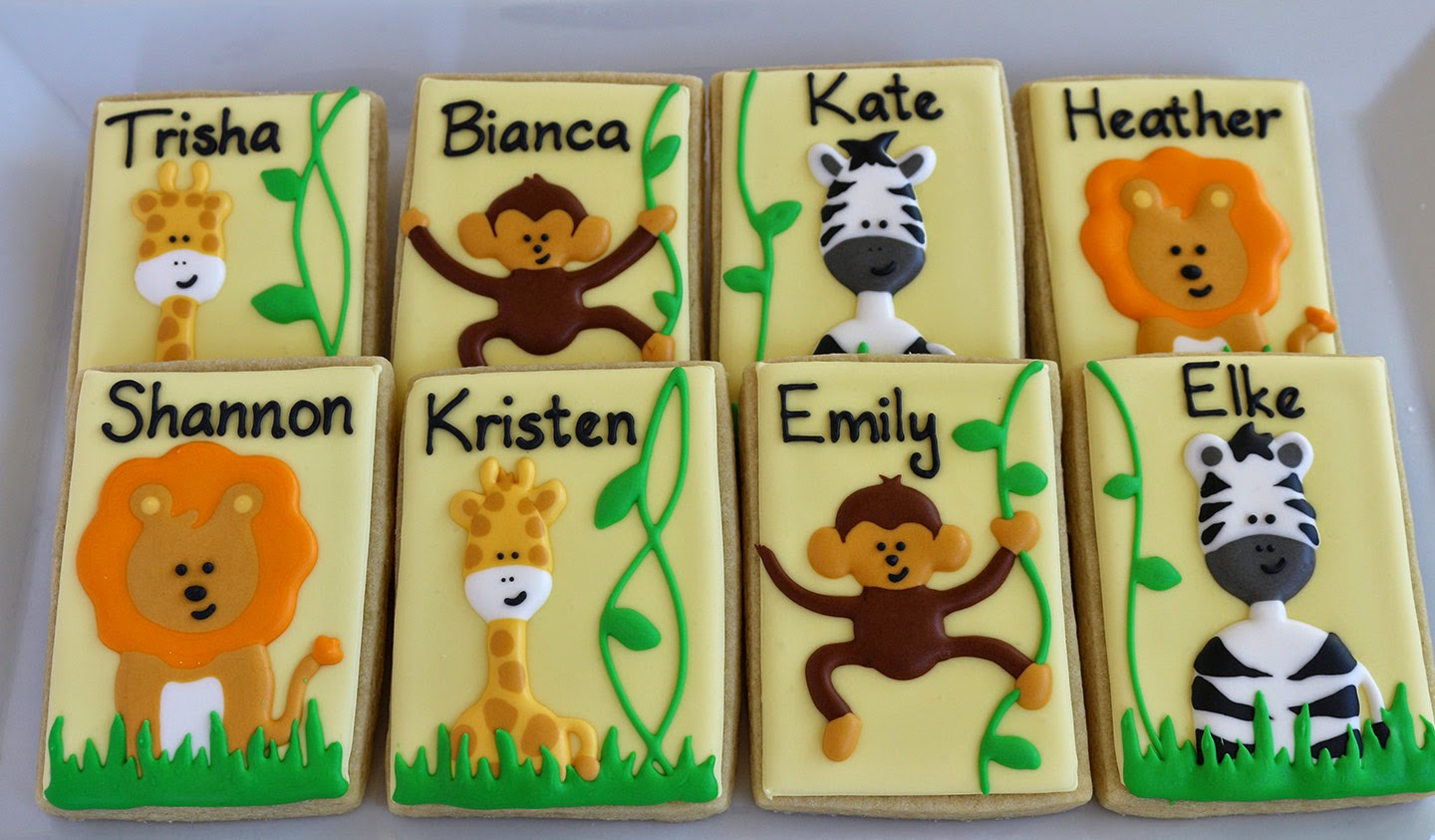 personalized jungle animal cookies