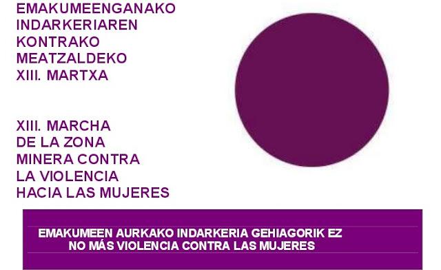 Meatzalde celebrará el domingo la XIII. Marcha Contra la Violencia Hacia las Mujeres