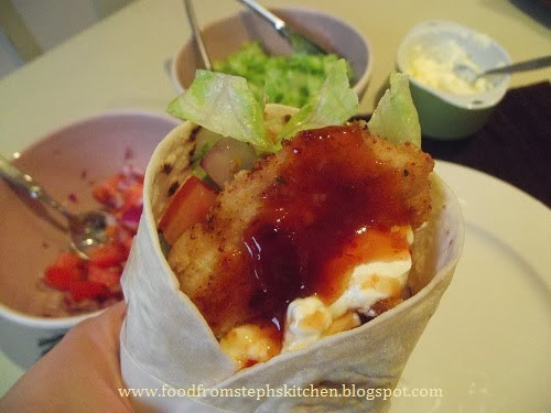 Eating crispy chicken wraps - Steph's Kitchen