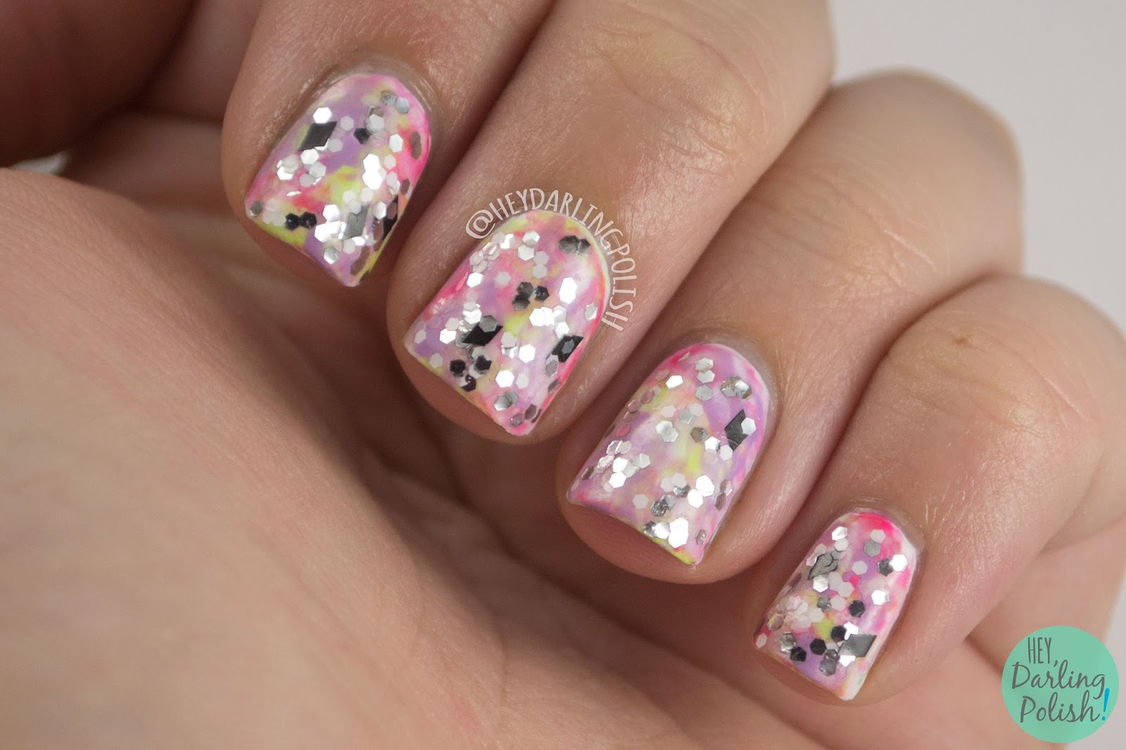 nails, nail art, nail polish, tri polish challenge, glitter, pink, purple, green, hey darling polish