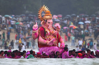 Ganesh Idol immersed into River