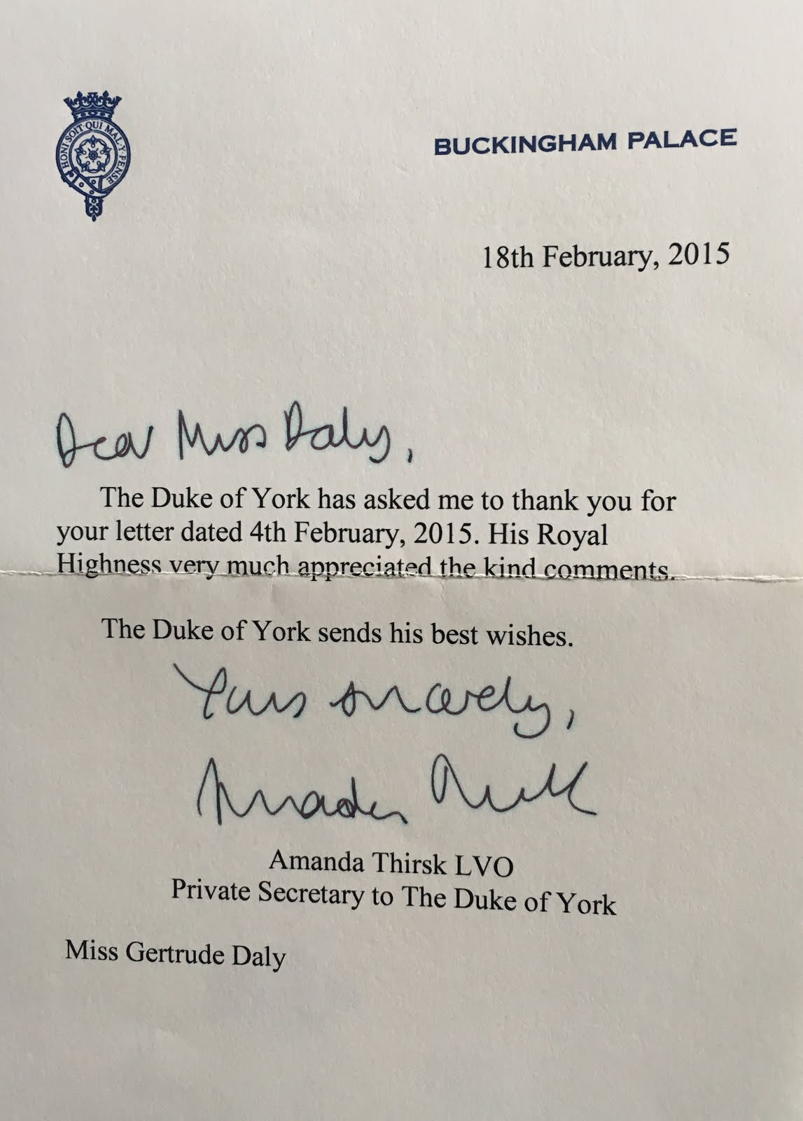 Gerts Royals Response To Birthday Letter For Prince Andrew