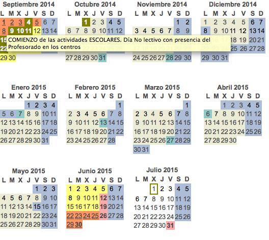 CALENDARIO DEL CURSO 2014-2015