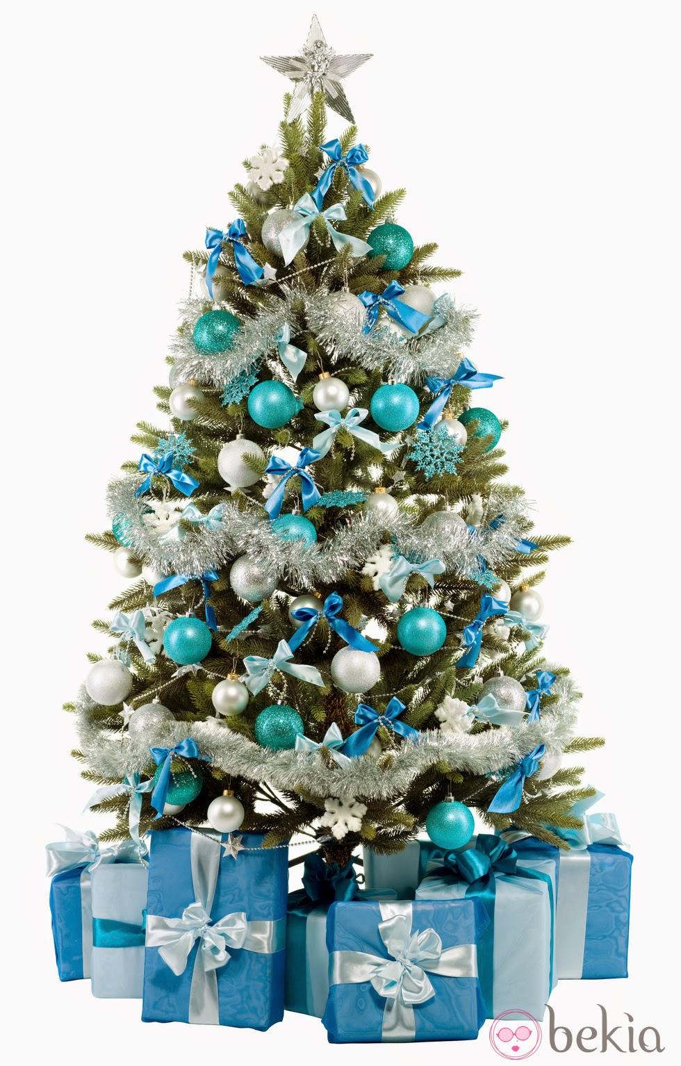 arbol de navidad azul y plata