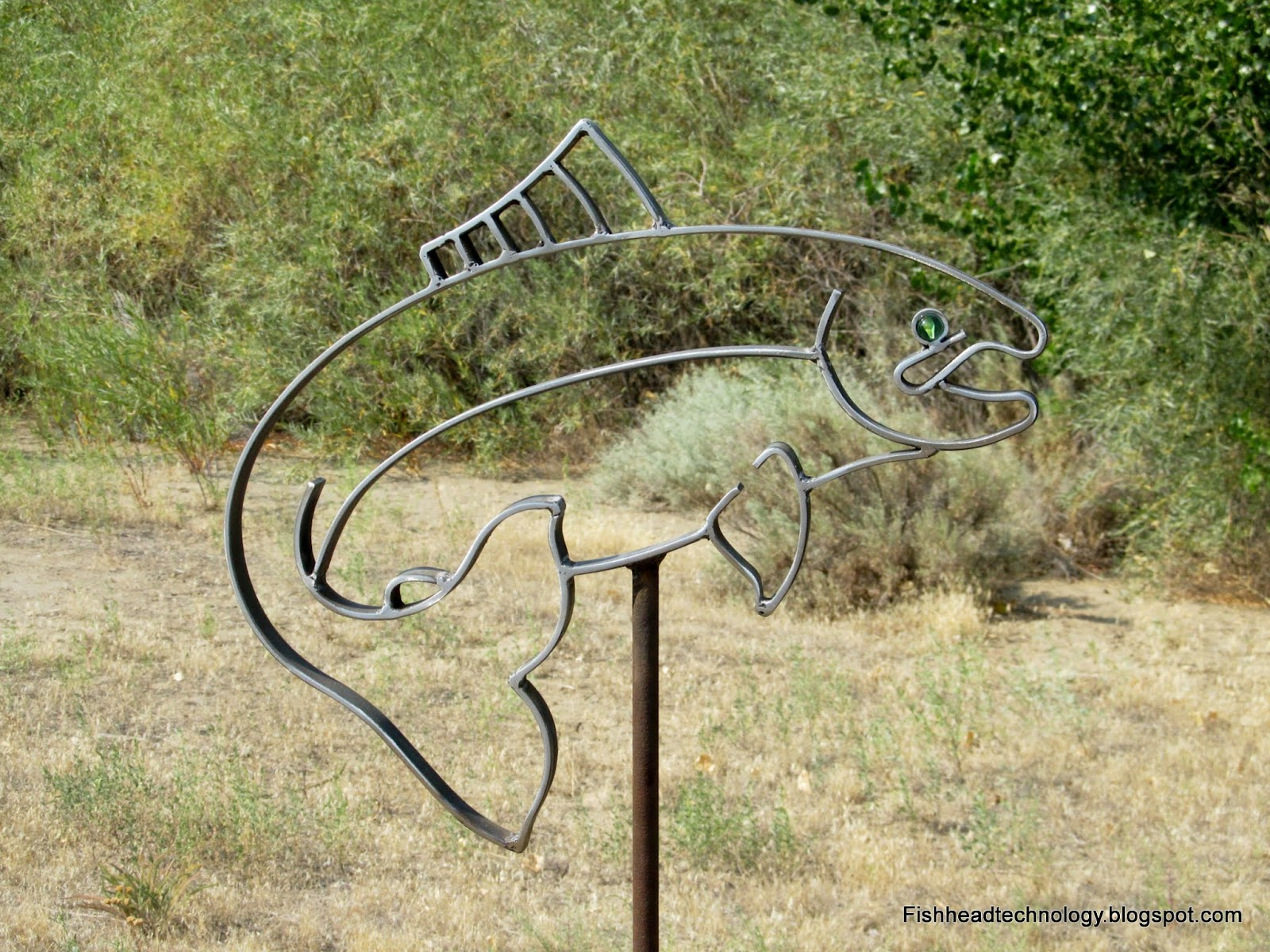 Fishhead technology metal salmon yard art for Wire yard art