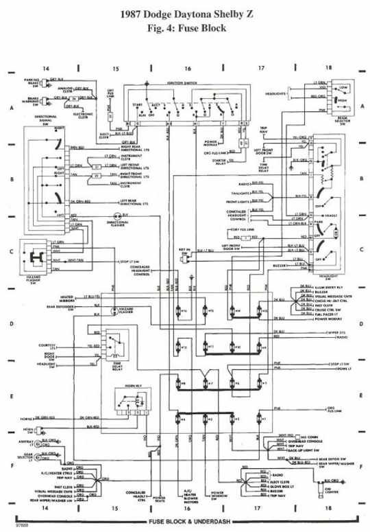 Dodge Daytona Shelby Z 1987 Rear Compartment Wiring Diagram