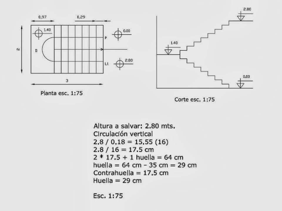 Dise a estudio dise o c lculo y detalles constructivos for Como calcular una escalera